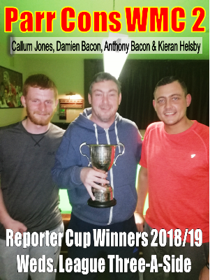 PARR CONS WMC 2 - Winners of the Reporter Cup 3-a-Side Competition for 2018/2019